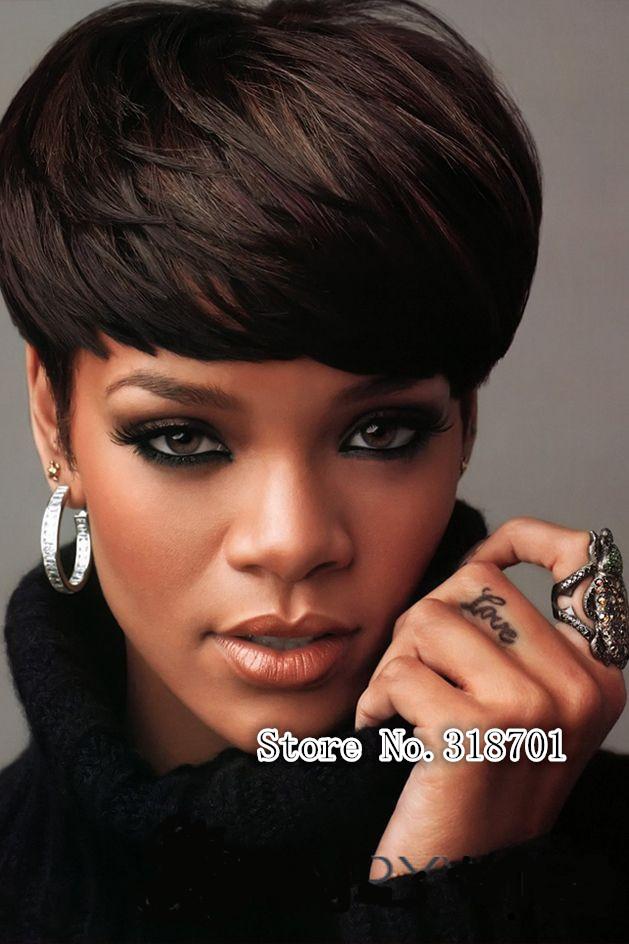 Rihanna Bowl Cut Hairstyle Wig