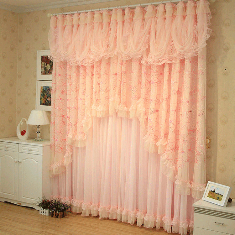Pink Korean Style Lace Ruffled Curtains Cortinas Para Sala Window Valance Sha