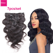 6A Unprocessed Brazilian body wave clip in human hair extensions,1B clip on hair 7 pieces full head,Brazilian wavy hair clip ins(China (Mainland))