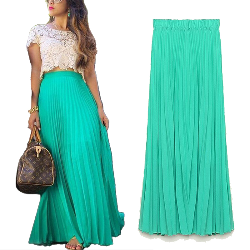 Newest Fashion Ankle Length Chiffon Pleated Skirts for women Spring Summer High Waist Casual Woman Long Skirts Plus size(China (Mainland))