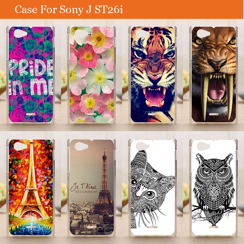 2015 new 14 patterns Eiffiel Towel rose flowers animals Painting colored Hard Plastic Phone Case Cover Sony Xperia J ST26i