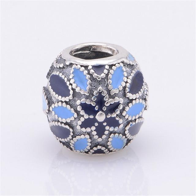 Оптовая продажа 100% 925 серебряные украшения бусины голубой эмалью бусины с камнями Fit пандора браслет DIY мода ювелирных изделий