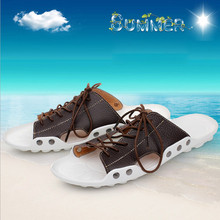 Casual Fashion Beach Shoe Men Sandals 2015 Summer Genuine Leather Slippers 3 Colors Size 38-43 Free Shipping