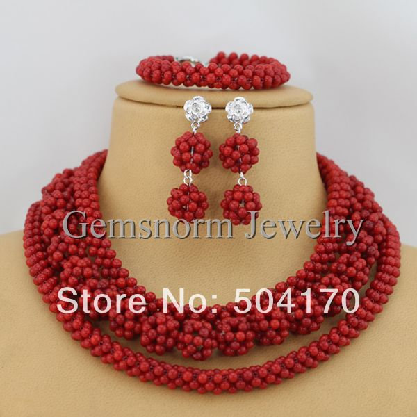 Free Shipping Handmade Red Coral Beads Jewelry Set African Beaded Jewelry Set  CNR033-1<br><br>Aliexpress
