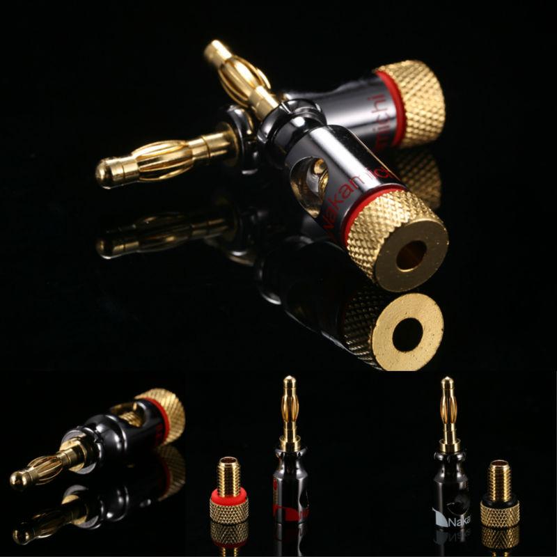Гаджет  8pcs/lot ,hot items Gold Plated Nakamichi Speaker Banana Plugs Connector Black Red High Quality Wholesale RCDNK004 None Электротехническое оборудование и материалы