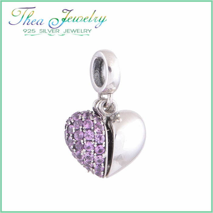 I Love You Charm Open Your Heart 925 Sterling Silver Jewelry Wholesale Charms Purple Stone For Snake Chain Bracelet Jewelry S050(China (Mainland))