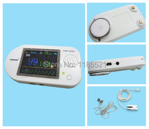 CONTEC CMS-VESD Color LCD Multi Function Electronic Visual echoscope Heart Rate ECG waveform + SPO2 + free software Monitor(China (Mainland))