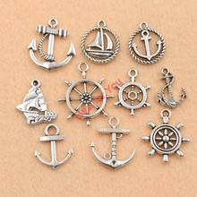 10pcs Mixed Tibetan Silver Tone Rudder Anchor Charm Fashion Pendants Jewelry DIY Jewelry Making 9Styles