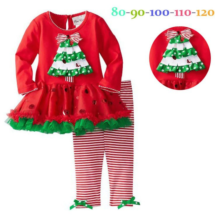 Free shipping 5 sets/lot 2-8 yrs Autumn/winter girls long sleeved Christmas shirt + trousers Santa suit <br><br>Aliexpress