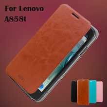 Hight Quality Leather Case Lenovo a858t Wallet Cover A858T Phone Bag Stand Function - HON ELECTRONICS CO LTD store