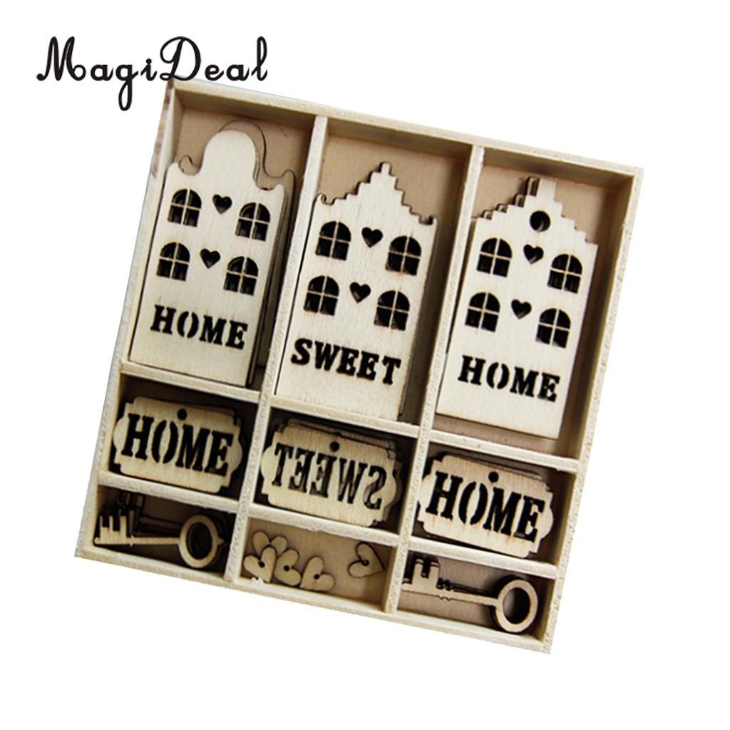 Box Of 45pcs Small HOME SWEET HOME Rustic Wooden Cutout Wooden MDF Cut Craft a740ebffb642