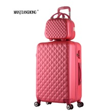 2016New Hot sales Diamond lines Trolley suitcase set/travell case luggage/Pull Rod trunk rolling spinner wheels/ABS boarding bag(China (Mainland))