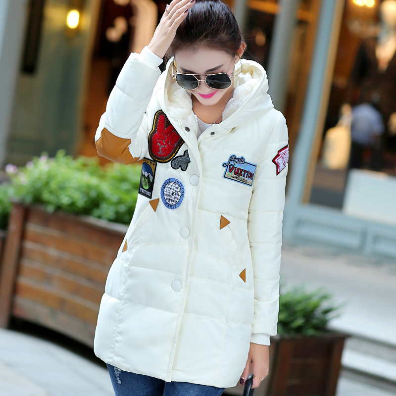 Winter Jacket Women The New Winter 2015 Women's Fur Collar Pocket Long Section Down Jacket Coat Solid Color Coat(China (Mainland))