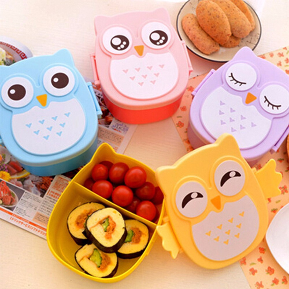 2 Layer Cartoon Owl Lunchbox Bento Lunch Box Food Fruit Storage Container Plastic Lunch box Microwave Cutlery Set Children Gift(China (Mainland))
