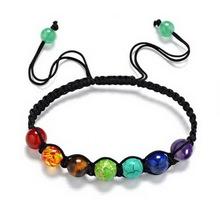 7 Chakra Healing Balance Braided Lava Yoga Reiki Prayer Stones Beads Bracelet Bangle Jewelry Bijouterie Accessories Chain Gift(China (Mainland))