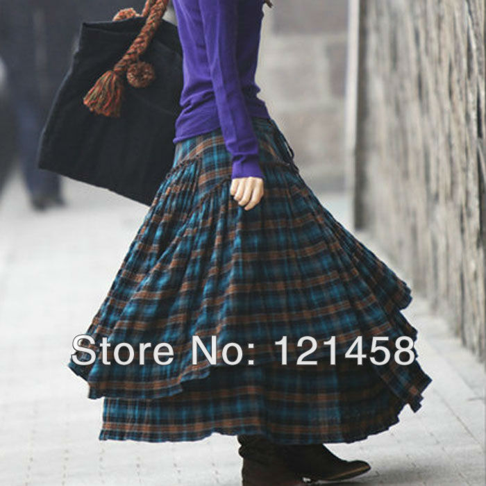 Long Plaid Skirt - Dress Ala