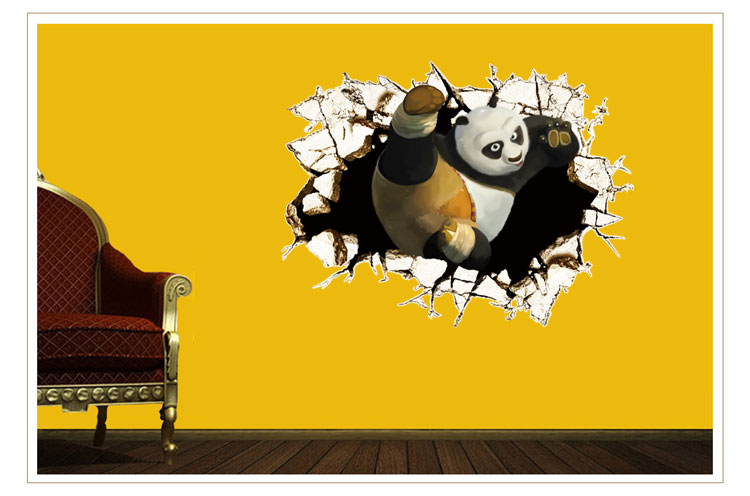 Wall Sticker Cartoon Wall Decal Kung Fu Panda 3D Effect Wall Poster Stickers For Kids Room Nursey Kindergarten Decoration Gift(China (Mainland))