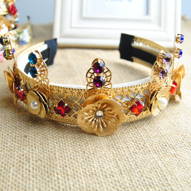 2015 New Brand Fashion European vintage high-end Exaggerated personality flower hair band Crown bridal hair jewelery(China (Mainland))
