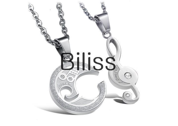 1 pair New 316L Stainless Steel Cubic Zirconia Matching Music Note Pendant Necklace for Men Women Necklaces Couple Jewelry(China (Mainland))