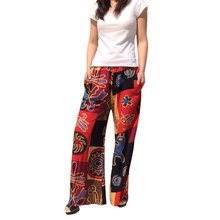 2016 New Fashion Five color One size Women Pants Casual Style Trousers Retro Style Elastic Waist Printed Women Wide Leg Pants(China (Mainland))