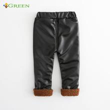 black Hot Sale Girls soft Leggings Baby Pants Faux Leather Kids Autumn Winter Solid Golden Velvet Thick Warm Skinny Children(China (Mainland))