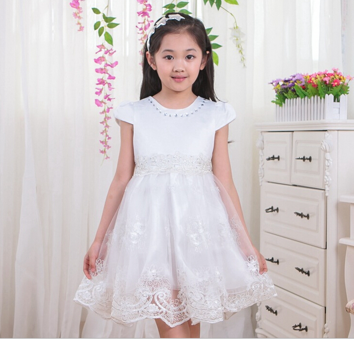 High Quality Baby Girl Princess Dress Lace Flower Crochet Tutu Dress Summer Kids Fashion Cute Clothes (China (Mainland))