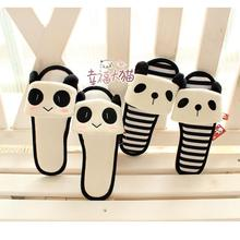 Spring New cute panda cartoon series striped padded mitts drag floor at home slipper shoes woman 2013 free shipping(China (Mainland))