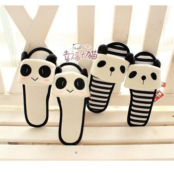 Spring New cute panda cartoon series striped padded mitts drag floor at home slipper shoes woman 2013 free shipping
