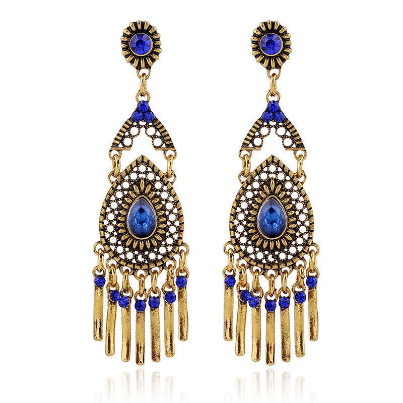 ER-027511-5 Vintage Crystal Tassels Long Drop Earrings Jewelry For Women European Design High-end 4 Colors Gold Dangle Earrings(China (Mainland))