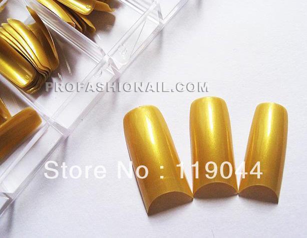 FREE SHIPPING 100Ppcs/Set Gold Pearlescent French Fake Nail Tips False Nail ART With Box NA407B(China (Mainland))