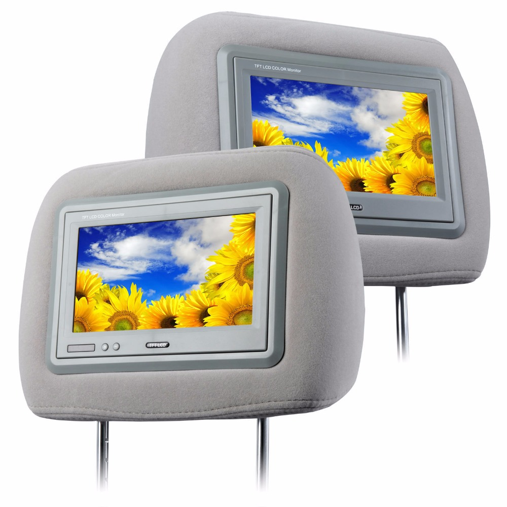 """L0273 Grey 2x 7""""s HD Moquette Car Headrest with Digital Wide Screen high resolution(China (Mainland))"""