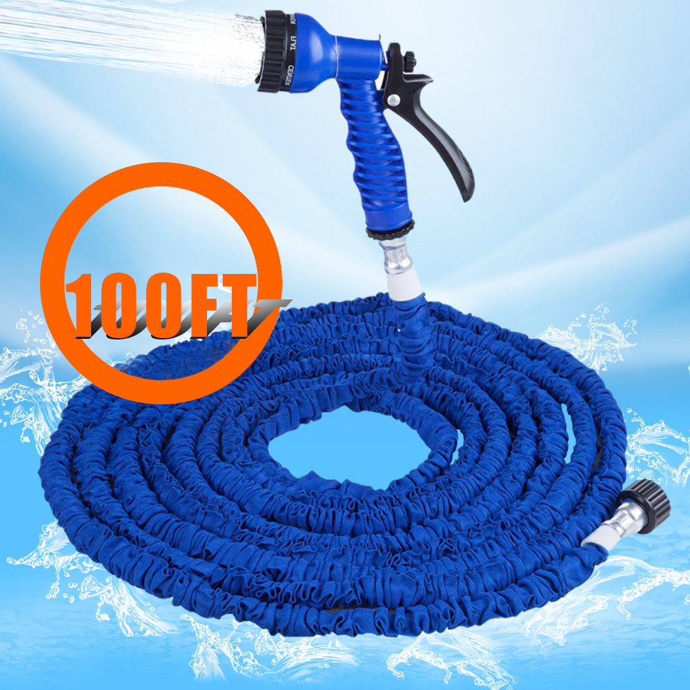 New Arrival Extensible Garden Water Hose Expandable 100FT Magic Flexible Retractable Water Hose Watering With 7 In 1 Spray Gun(China (Mainland))