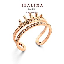 Top Quality Fashion Crown Ring Rose Gold Filled Austrian Crystal Paved Opening Female Ring Bague Jewelry