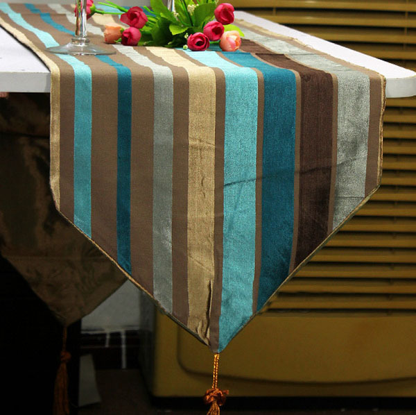 Brief Soft Multicolor Chenille Stripes Table Runner Table Flag Cloth Mat Tassel Dining Home Decoration(China (Mainland))