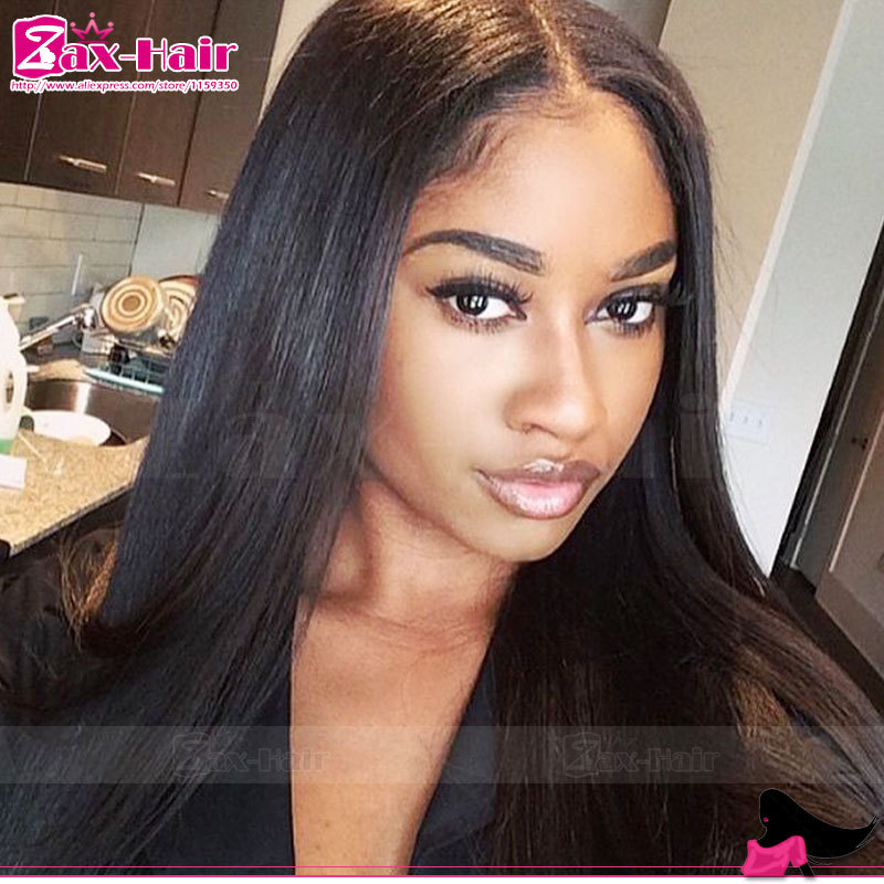Фотография Cheap lace front wig straight glueless full lace human hair wigs for black women Brazilian human hair lace wig baby hair stocked