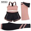 Women Yoga Set Four Pieces Bra T shirt Shorts Pants Exercise Sportswear Solid With Letters XXXL