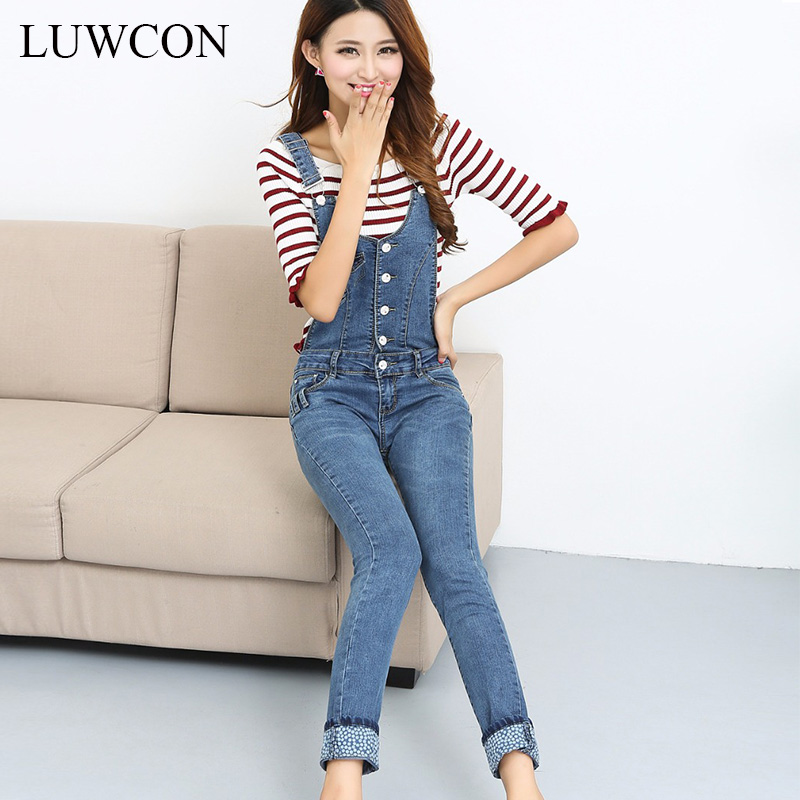 New Plus size Korean New Womens rompers Jumpsuit Denim Overalls Casual Skinny Girls Pants Jeans light blue jeans Rompers(China (Mainland))