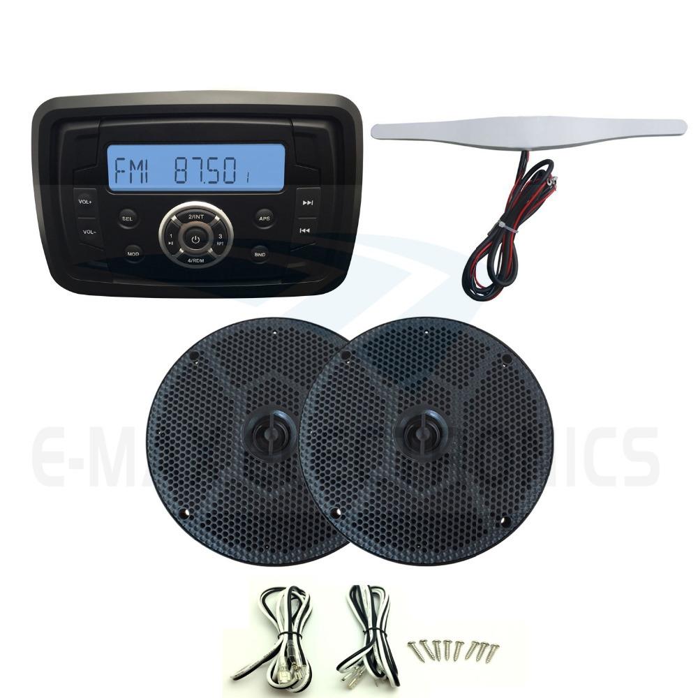 Waterproof Marine Radio Audio Stereo Receiver SoundSystem MP3 FM AM With Bluetooth Function+6.5inch marine Speaker+Radio Antenna(China (Mainland))