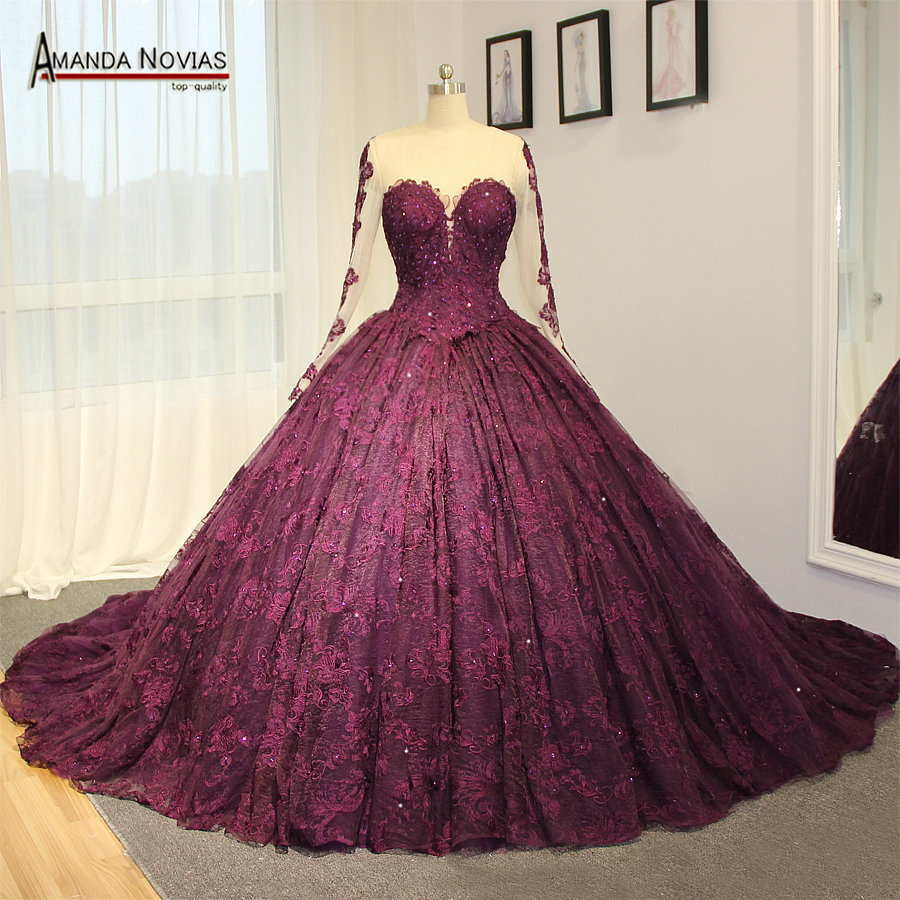 Amazing high end wedding dress purple lace wedding dress for Purple lace wedding dress