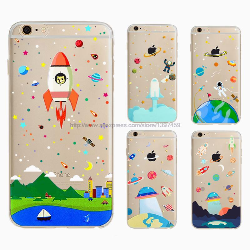Transparent Tpu Rocket Outer Space Cover For Apple Iphone 6 6s Case Coque For Iphone6 Soft Silicone Phone Cases(China (Mainland))
