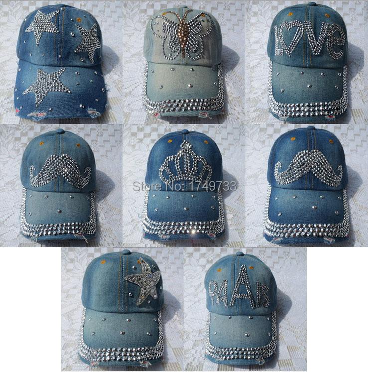 2015 Fashion Female Ladies Adjustable Denim Caps Letter Pattern Crown Rhinestones Jean Denim Cap Snapback Cowboy Hat L&J(China (Mainland))