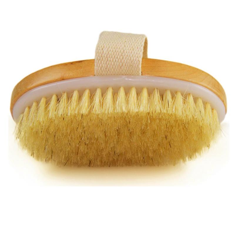 Dry Skin Body Brush Natural Bristle Brush Soft Handle Pouch Brush SPA Brush TB Sale(China (Mainland))