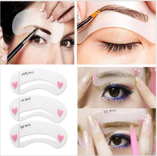 3 Styles Grooming Brow Painted Model Stencil Kit Shaping DIY Beauty Eyebrow Stencil Make Up Eyebrows Styling Tool, 608(China (Mainland))