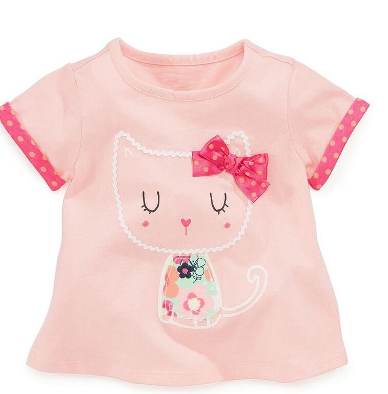 597415 Wholesale New 2015 Summer Girls Tops 100% Cotton Solid Appliques Cat Bow Girls Tees Casual Short Sleeve Kids Clothes <br><br>Aliexpress