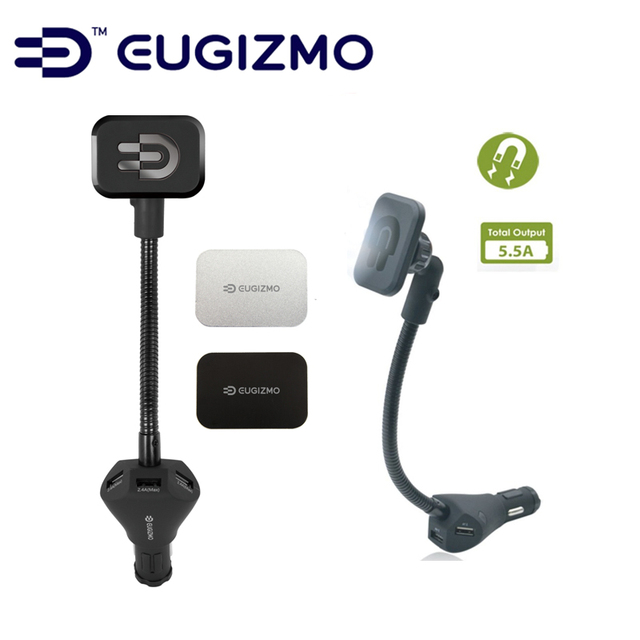 Eugizmo Smartphone Car Mount Magnetic Mounting Technology Best Cell Phone Holder with dual 3 USB Car Charger (DC5V, 5.5A)