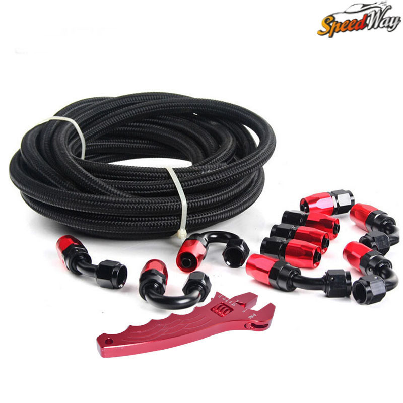 AN10 NYLON & STAINLESS STEEL BRAIDED HOSE + Fittings End Adaptor KIT OIL/FUEL BLACK HOSE with Spanner(China (Mainland))