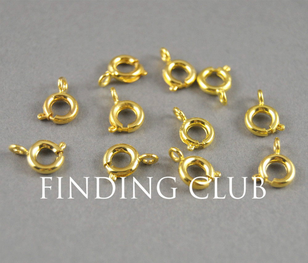 Free Shipping! 200 pcs 6mm Gold plated Brass Spring Ring Clasp Metal Bracelet Necklace Jewelry Findings(China (Mainland))