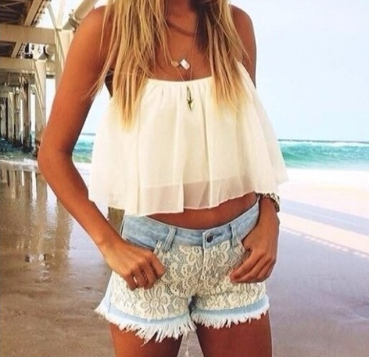 Aliexpress.com  Buy 2016 Spring Summer Outfit White Flowy Crop Top Lace Shorts CHIFFON Hollow ...