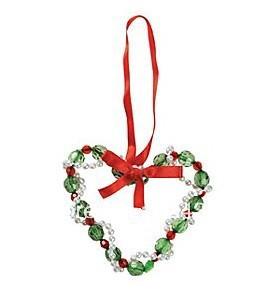 Free Shipping Beaded Christmas Heart Ornament Craft Kit Holiday Decoration DIY toy 12set/lot Wholesale(China (Mainland))