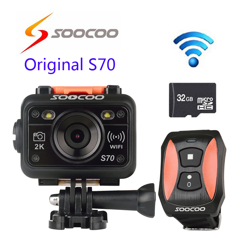 Free shipping!!32GB Card+Original SOOCOO S70 Action Camera 2K@30fps 1080p@60fps 60M Waterproof Build-in WIFI with Remote Control